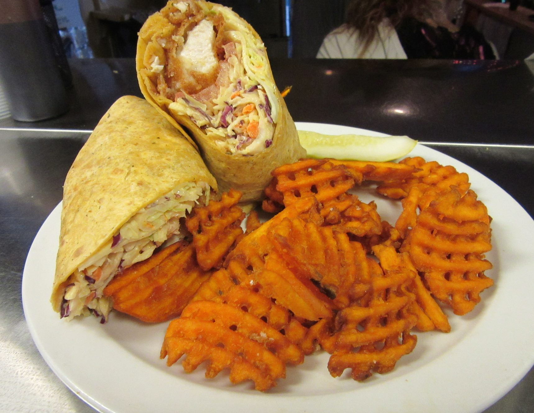 chicken wrap and waffle fries
